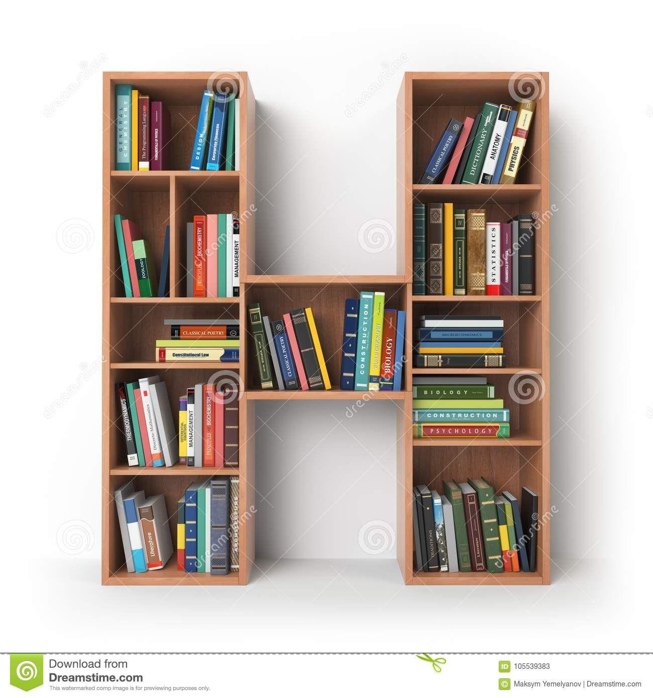 Letter H Alphabet In The Form Of Shelves With Books Isolated On Stock Illustration Illustration Of Pap Book Rack Design Bookshelves Diy Creative Bookshelves