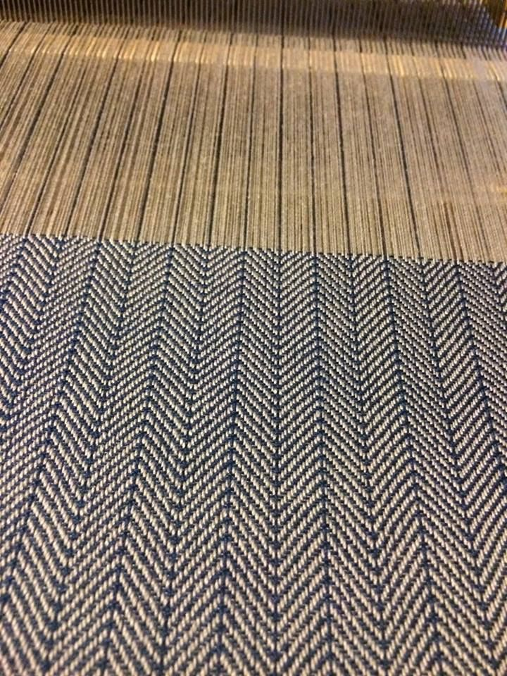 Herringbone. Extended point twill. 30 threads per inch. Cotton 10/2 ...