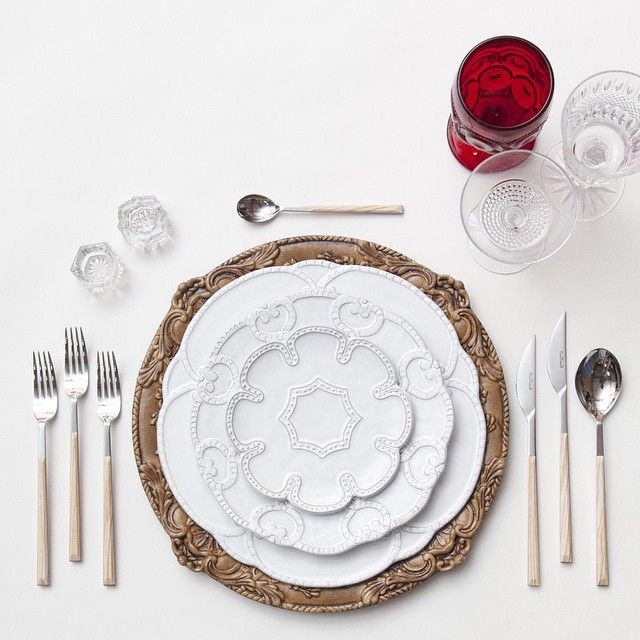Walnut Florentine Chargers + Signature Collection China + Birch Flatware + Red/Cut Crystal Vintage Glassware + Antique Crystal Salt Cellars // Casa de Perrin