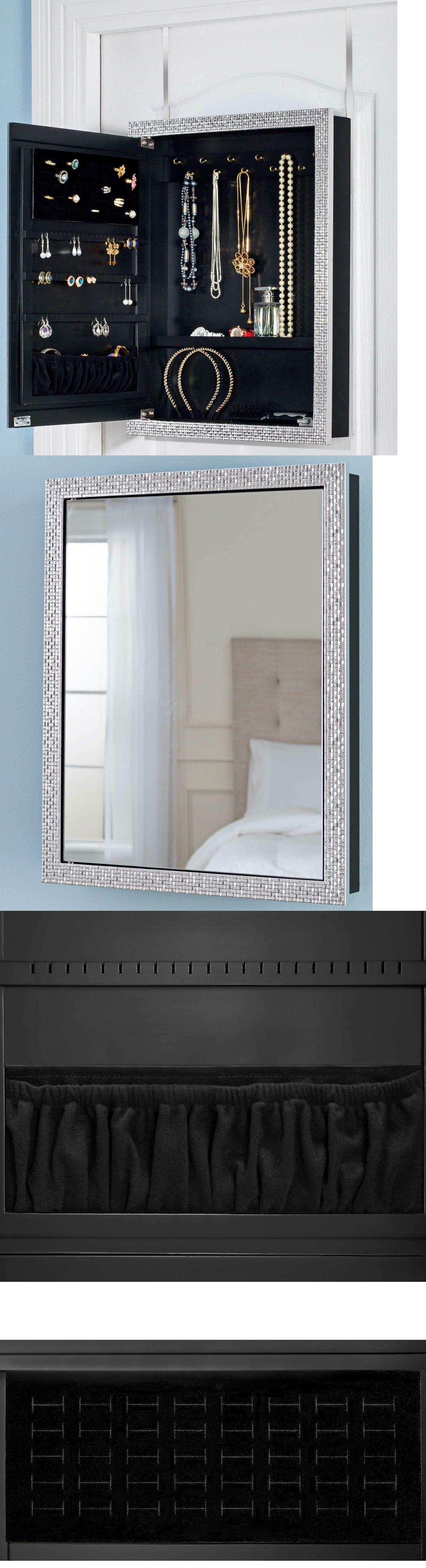 MultiPurpose 168165 Tile Over The Door Mirror Jewelry Box Storage