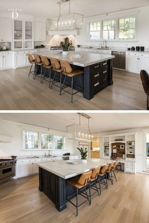 12 Skyland Way Ross California | #California #luxury #home with #white + #darkgrey #rustic #modern #kitchen  + tan #leather #barstools | #luxuryhome #luxuryrealestate #californiarealestate #interiordesign #homestaging #designinspiration #bayarearealestate #stagedbystudioD #bayarearealestate