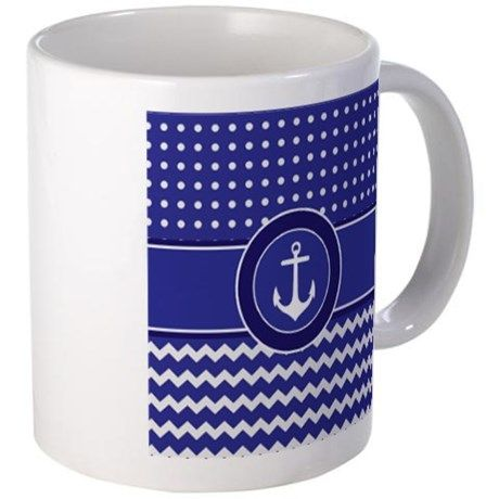 Dark Navy Royal Blue Chevron Polka Dot Nautic Mugs on CafePress.com