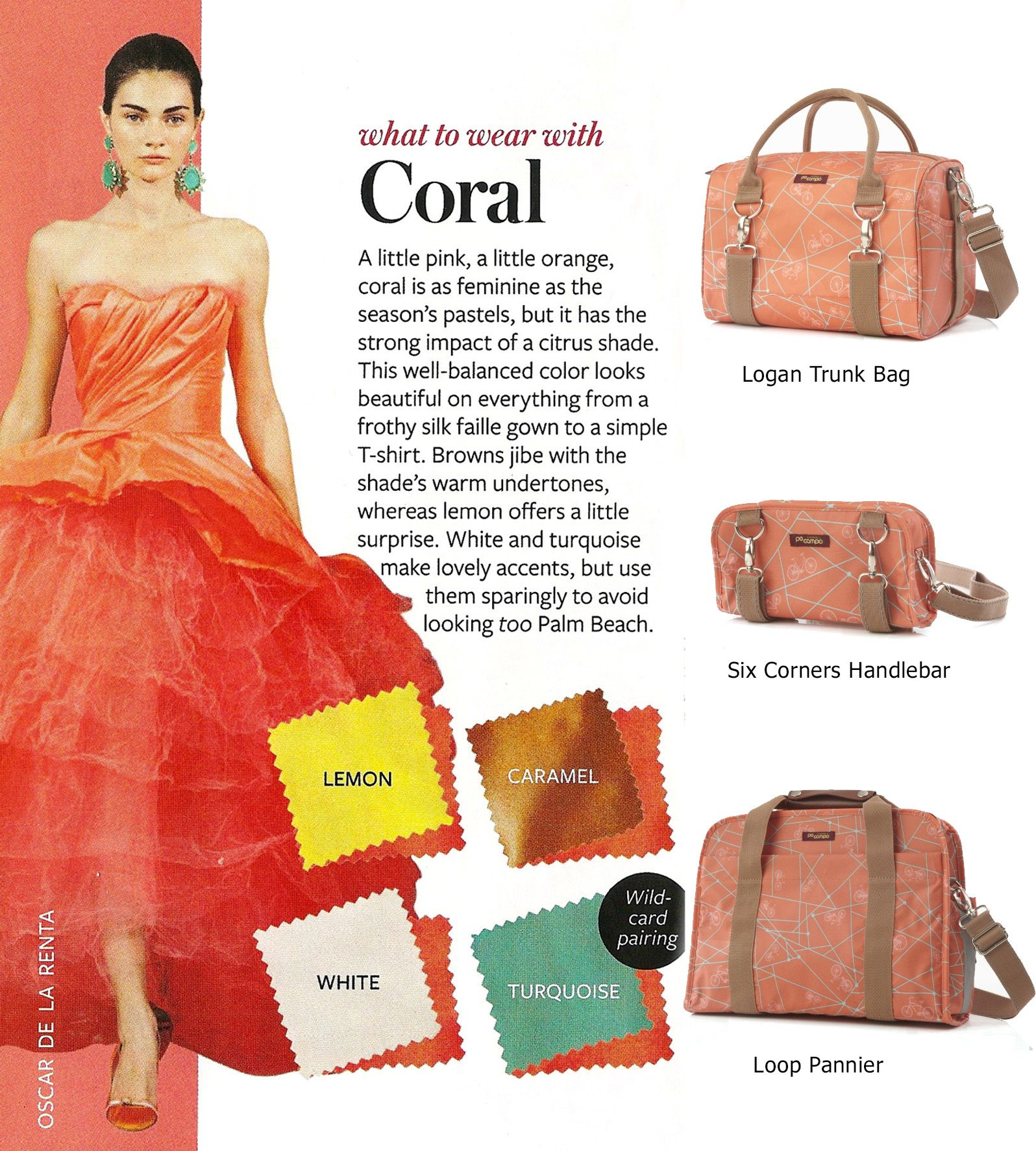 Excellent tips from InStyle on how to wear #coral! #pocampo #bikeprint
