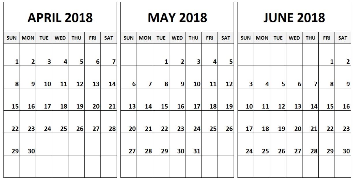 2018 April May June Calendar 2018 Calendars April May Quarterly