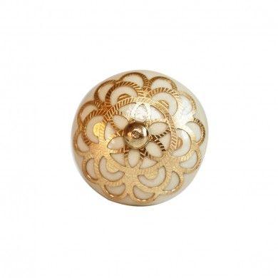 Rajasthan Filigree Door Knob Cream/Gold | Hardware | Pinterest ...