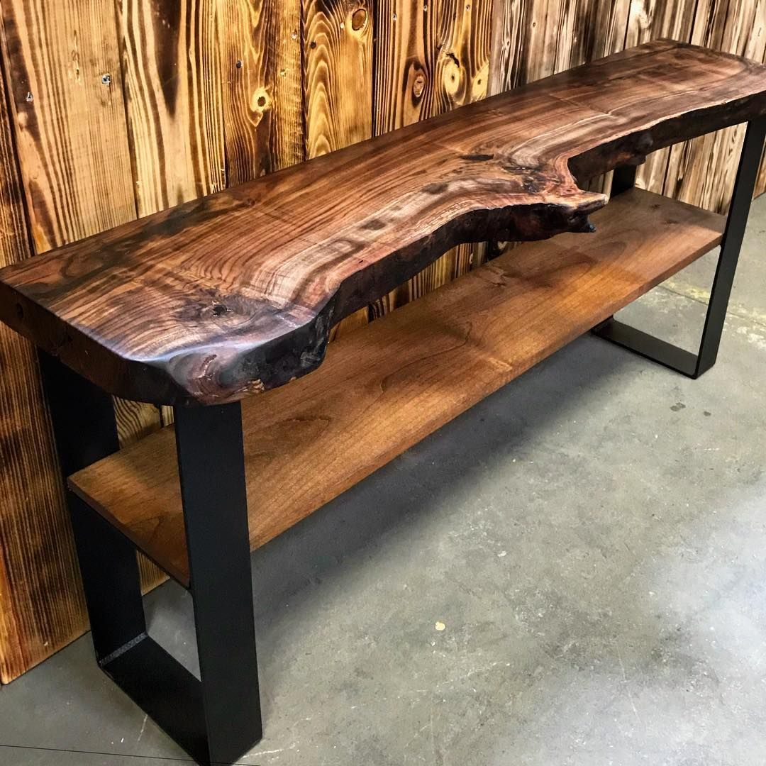 Stottwood On Instagram Finished This Tv Console Table For A Client Today Live Edge Walnut Top In 2020 Wood Table Design Tv Console Table Woodworking Projects Table