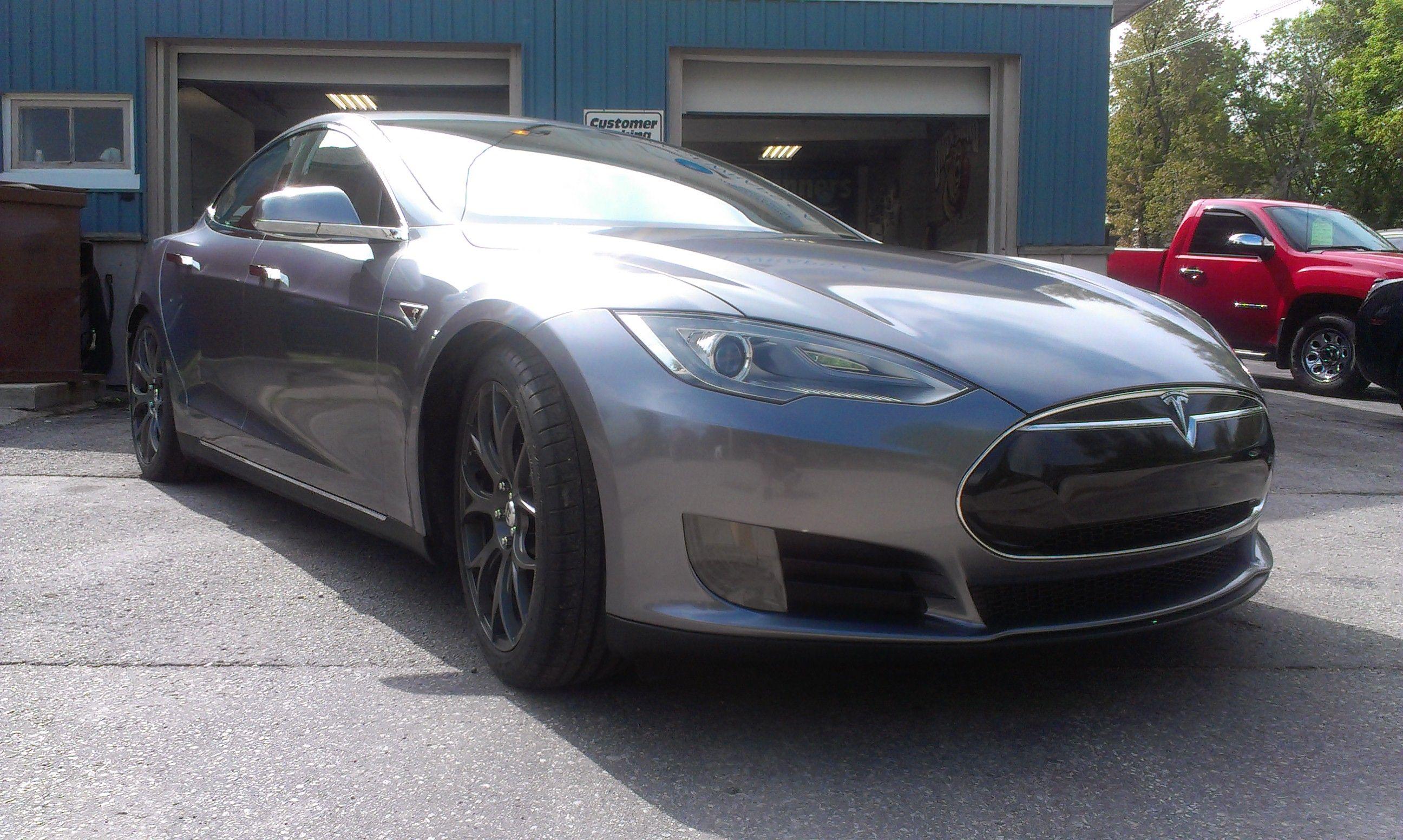 Tesla Wrapped In 3m 1080 Silver Anthracite Car Wrap Vinyl Wrap