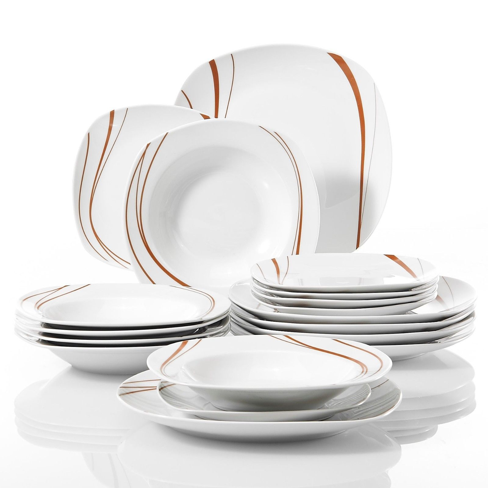 18X Porcelain Dinner Set 958575 Plates Red Stripe Great