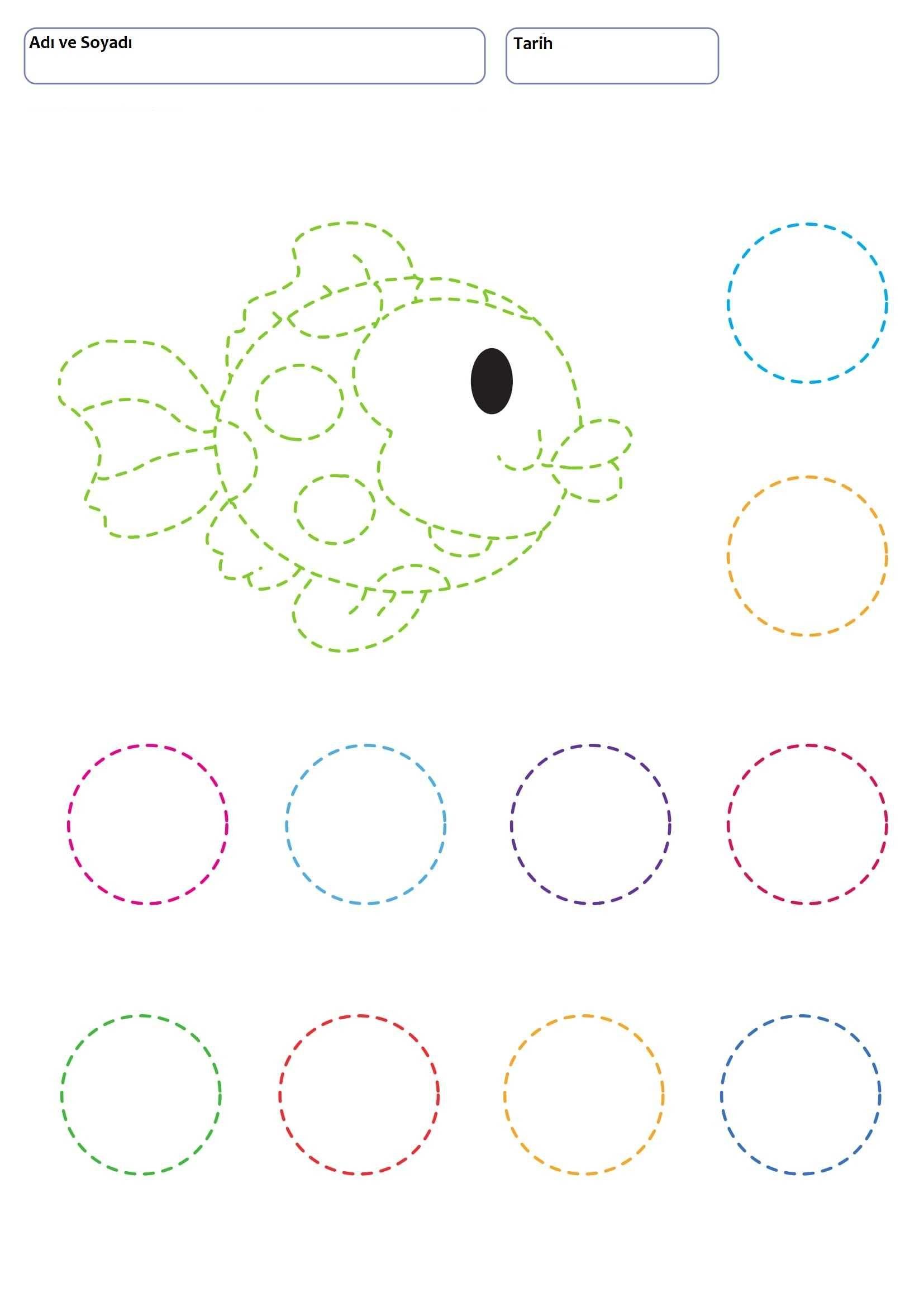 Preschool Circle Line Worksheet