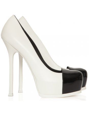 Tribtoo white and black leather shoes