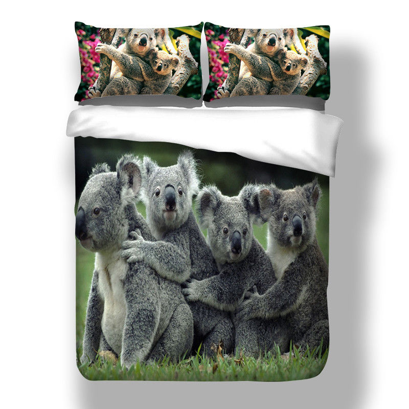 Koala Bear Print Duvet Quilt Cover Kids