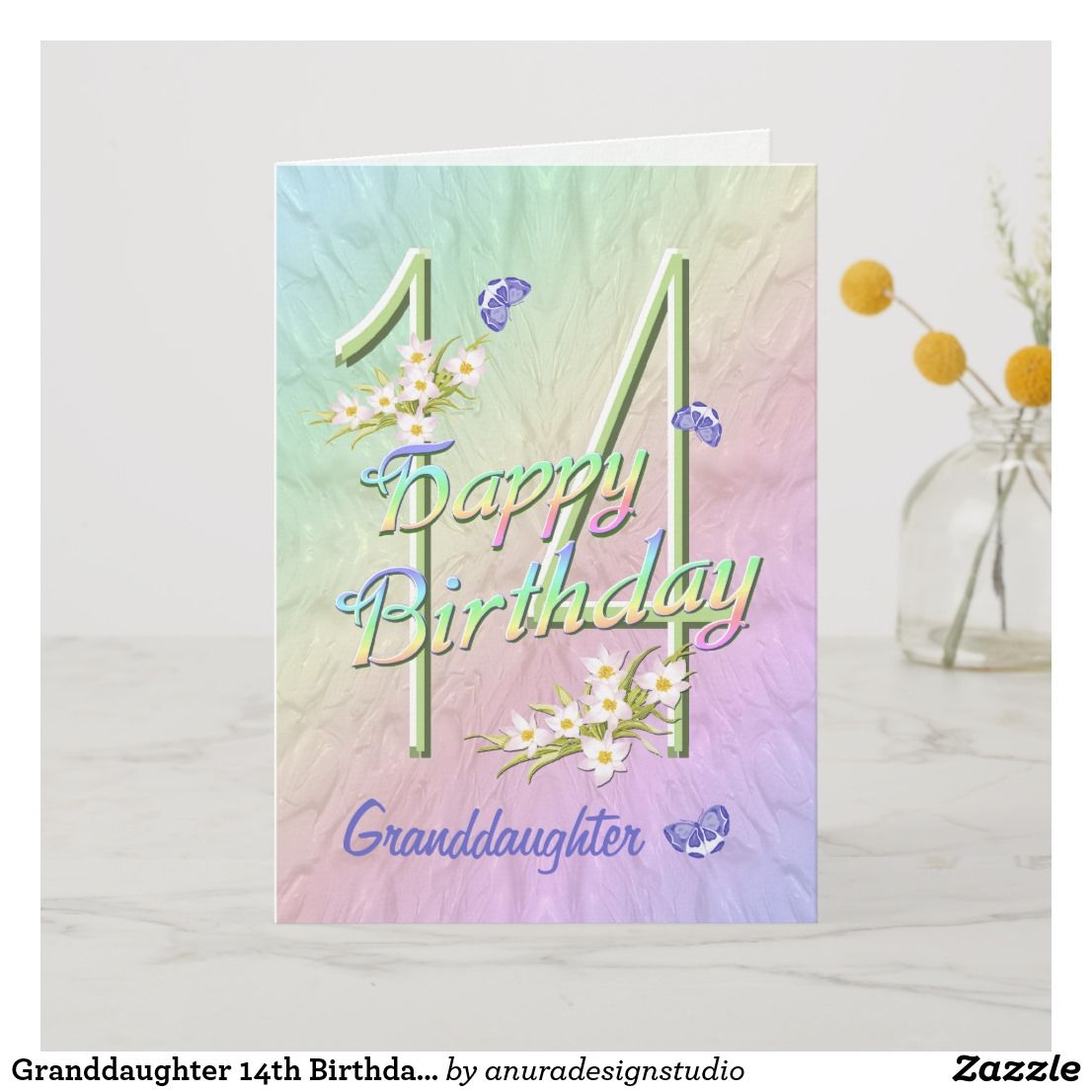 Granddaughter 14th Birthday Butterfly Garden Card | Zazzle.com #17thbirthday