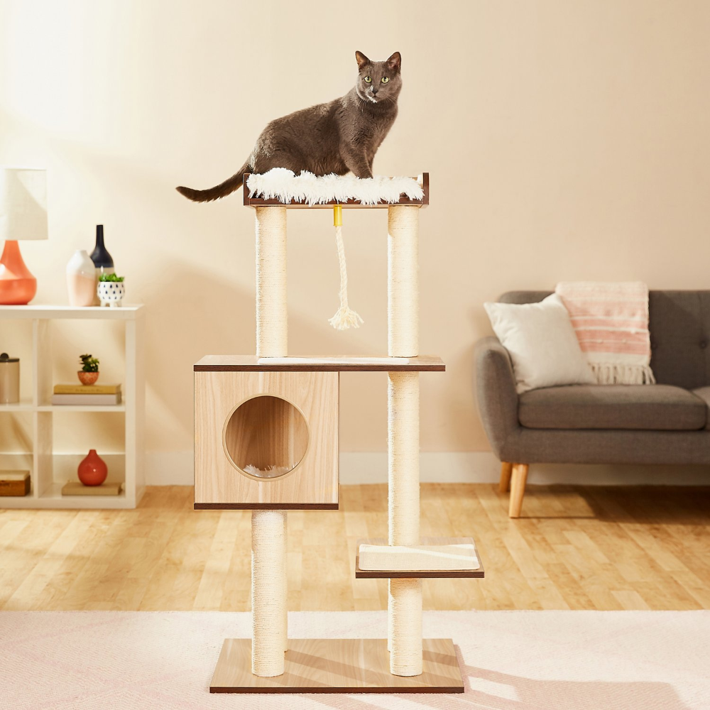 Frisco 47 5 In Modern Cat Tree Natural Chewy Com Modern Cat Tree Cat Tree Condo Modern Cat