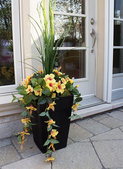 Jardini re en pot hibiscus jaunes 40 39 39 jardini res Jardinieres exterieures