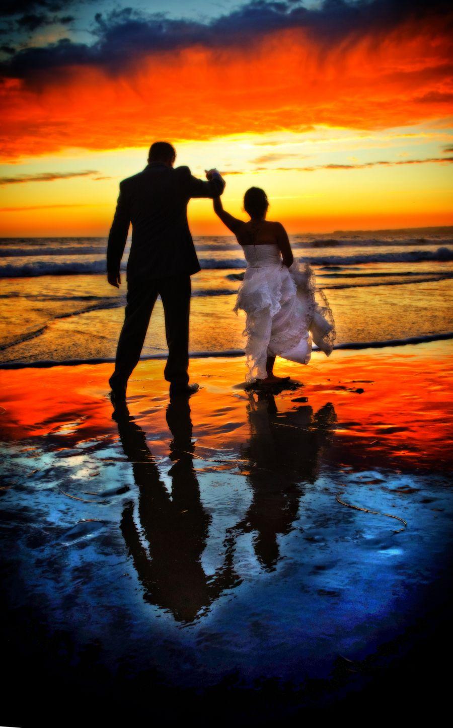 Sunrise beach wedding  Sunset Couple  Neil Simmons Beach Wedding Photography  beach