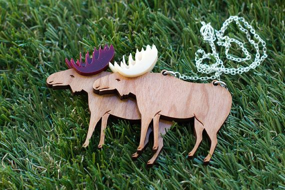 Flippin' elk these are gorgeous! Moose Necklace by finestimaginary, $23.00 well i want this.