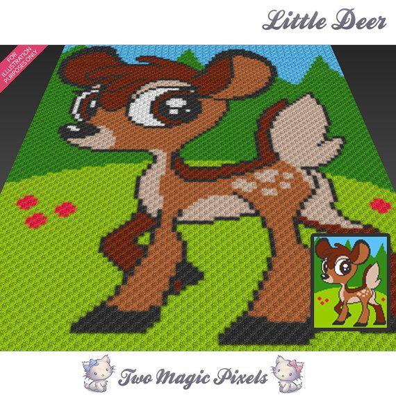 Little Deer crochet blanket pattern knitting by TwoMagicPixels