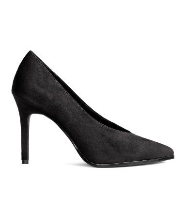 Black. Pumps with pointed toes and covered heels. Imitation ...