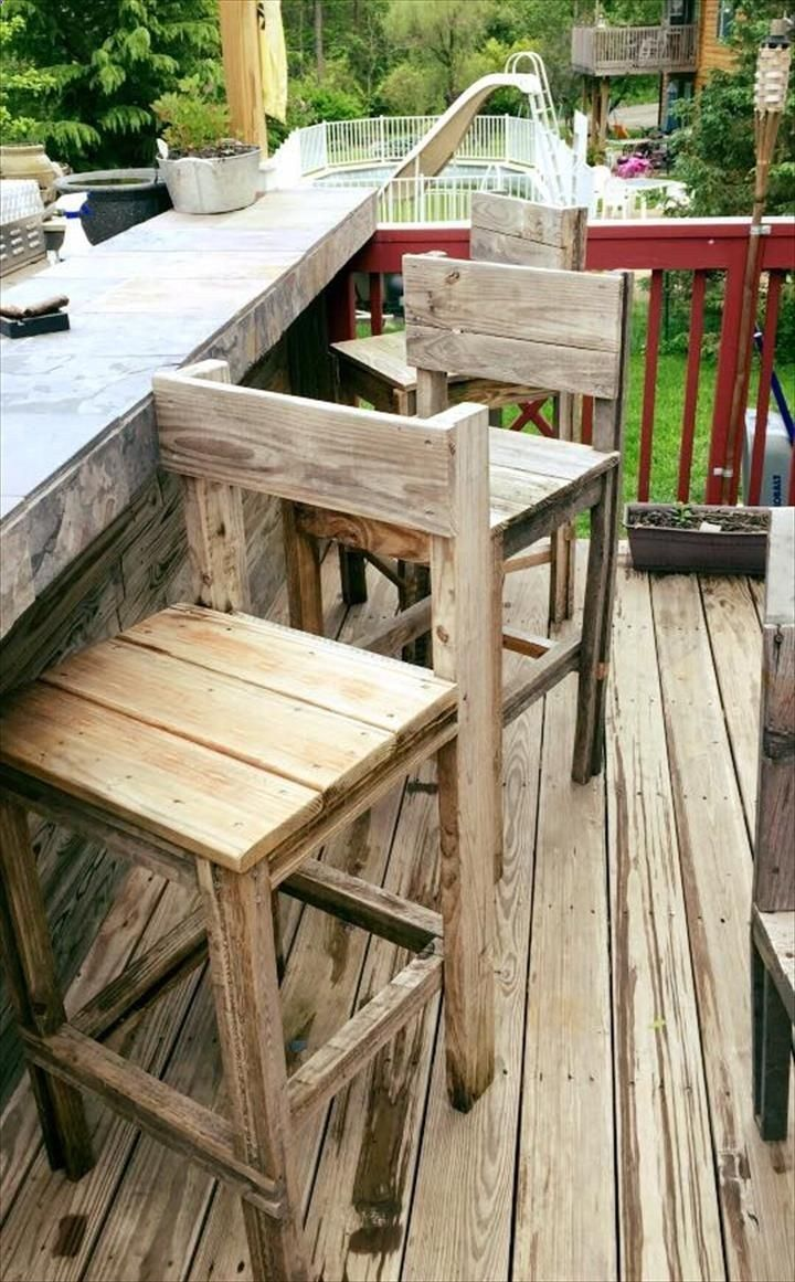 pallet patio furniture decor. Pallet Bar Stools Or Chairs - 70 Ideas For Home Decor | Furniture DIY Patio I