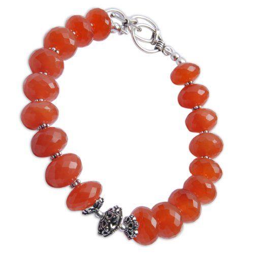 Indian Fashion Jewelry Silver Carnelian Gemstone Bracelets Link 8.75 Inches - Fashion Jewelry