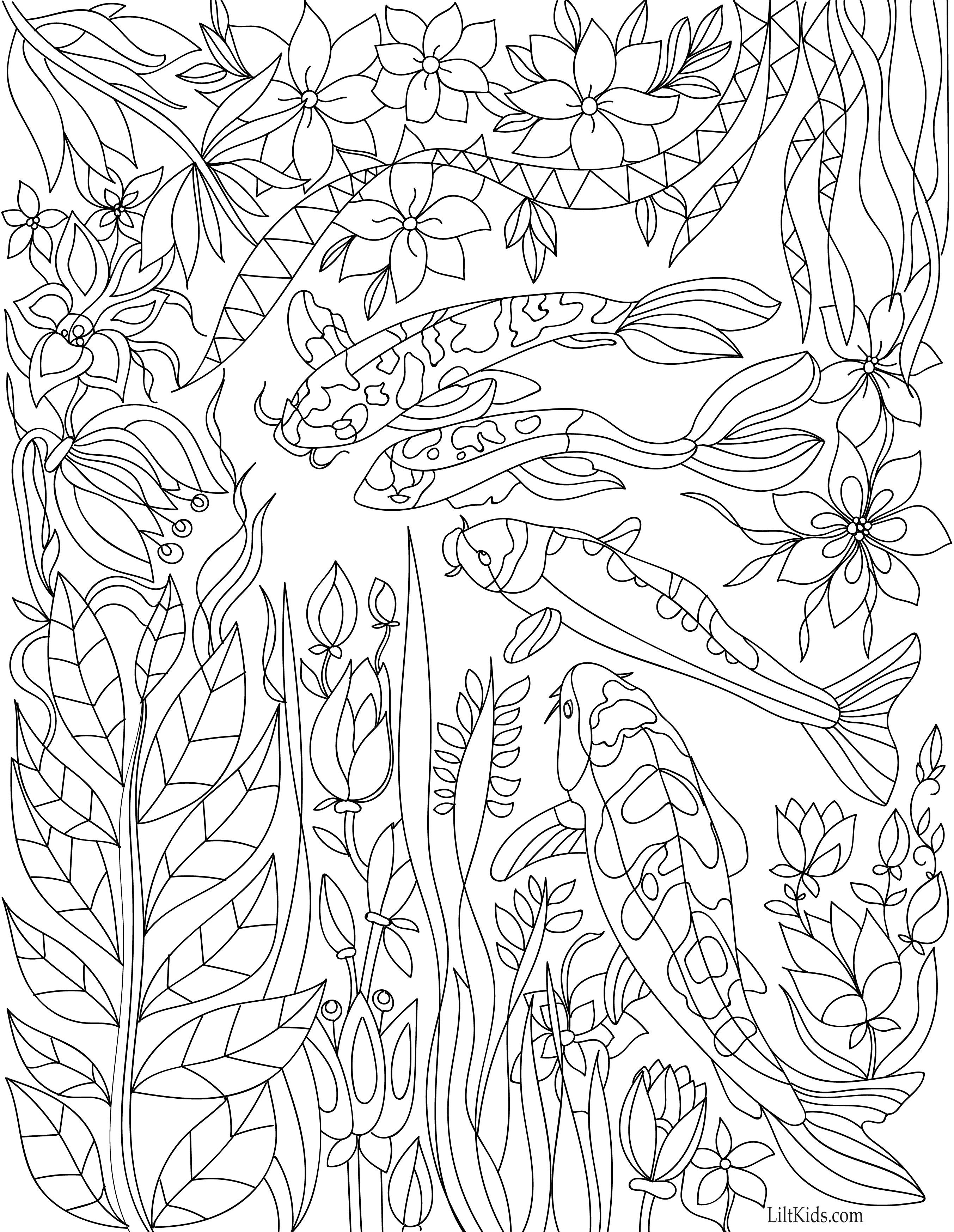 Free koi pond with lillies adult coloring book image from LiltKids ...