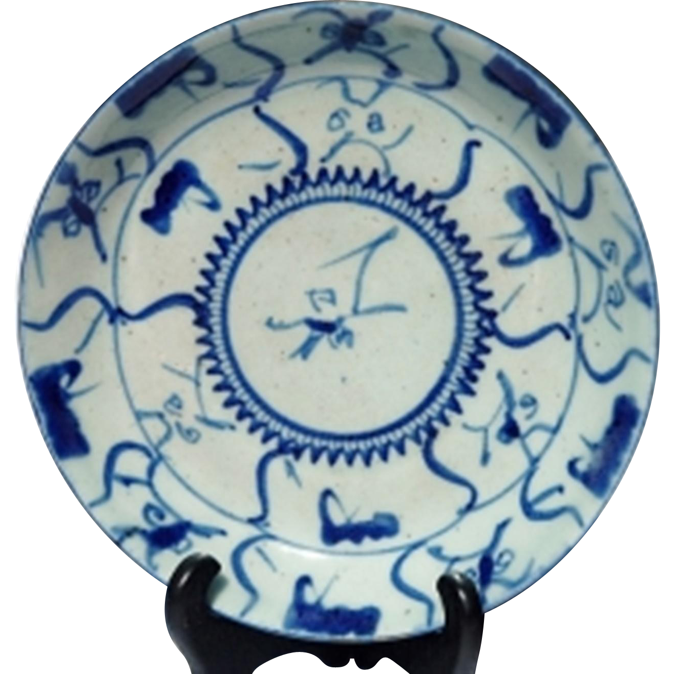 highly decorative old Chinese porcelain plate • note old dealer\'s ...