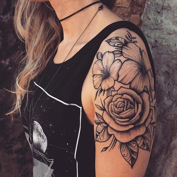 21 Rose Shoulder Tattoo Ideas for Women | StayGlam