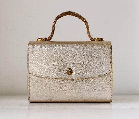 Sale / vintage 1960s gold handbag | cute