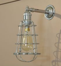 """BUSTER WALL LIGHT-INDUSTRIAL STYLE BRACKET-CHROME-""""ALCATRAZ"""" WIRE CAGE SHADE"""