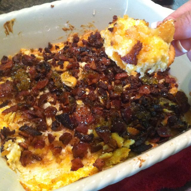 """Cheesy Heaven Bake Dip. 1/2cup mayo, 8ozcream cheese, 2cups sharp cheddar cheese, 2green onions, ritz crackers crumbled, bacon crumbled on top. Bake all for 25 min @350. Add """"Captain Rodney's Bowcan Glaze"""" and ENJOY!"""