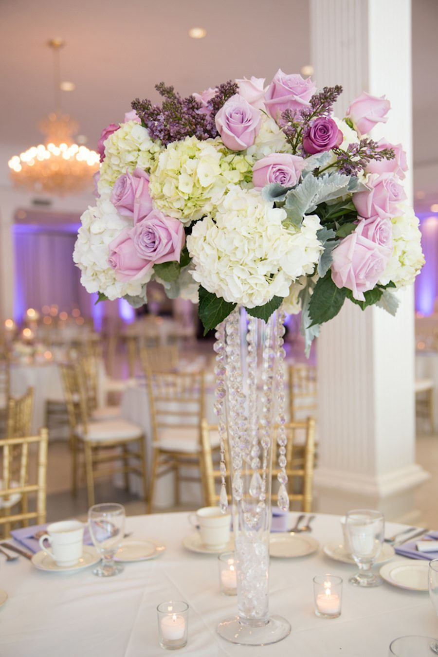 Elegant romantic purple ivory lilac and white rose