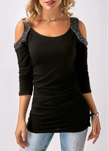 74d3b896f5f89b Ruched Rhinestone Embellished Cold Shoulder Black T Shirt | Rosewe.com -  USD $28.15