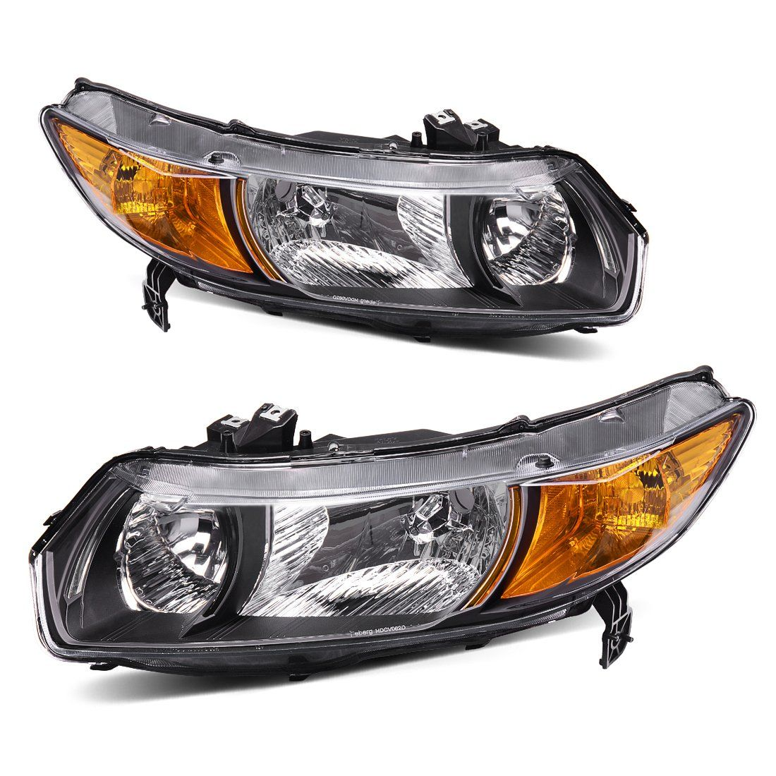 Headlight Assembly Oe Style Replacement Direct For 2006 2011 Honda Civic Coupe Headlamps Black Housing With Ambe 2011 Honda Civic Civic Coupe Honda Civic Coupe