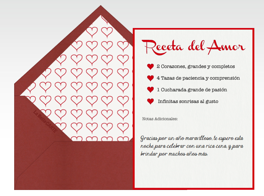 Tarjetas de amor, tarjetas de San Valentín, tarjeta de enamorados, Día de San Valentín, Día de los enamorados, Día del amor, amor, 14 de febrero, corazones, rojo, receta de amor, sonrisas, pasión    Para más Info Visita: La Belle Carte www.LaBelleCarte.com    Online cards Saint Valentine's Day, online greeting cards Saint Valentine's Day, love, cute, hearts, red, recipe    For More Info Visit: La Belle Carte www.LaBelleCarte.com/en