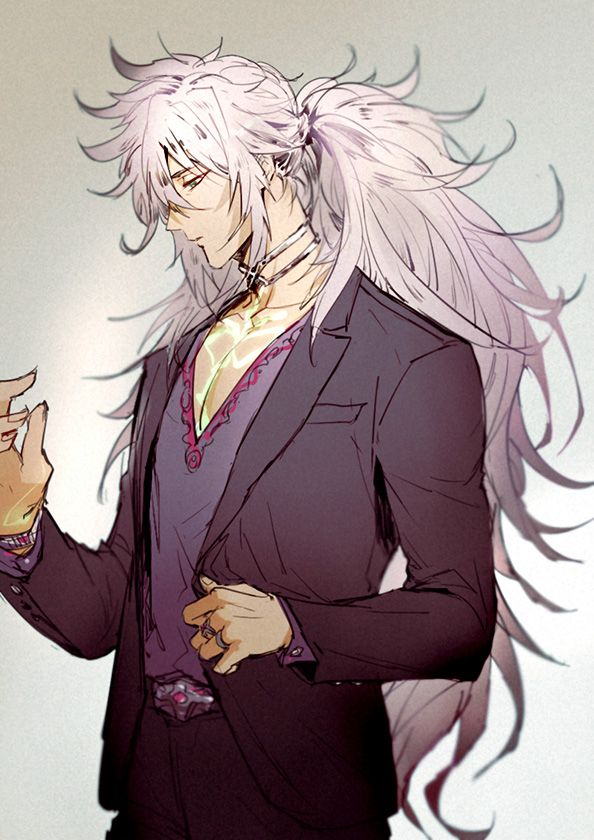 1boy Changye Dark Skin Fate Apocrypha Fate Series Formal Green Eyes Long Hair Male Focus Platinum Fate Stay Night Anime Fate Anime Series Anime Guy Long Hair