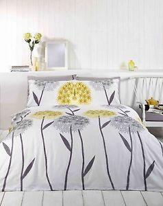 Vintage Alium Floral Grey Yellow Duvet Cover Single Double King