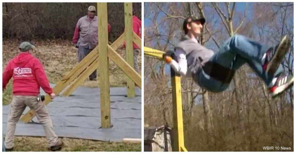 Nearly 7 Foot Tall Autistic Man Loves To Swing But Was Too