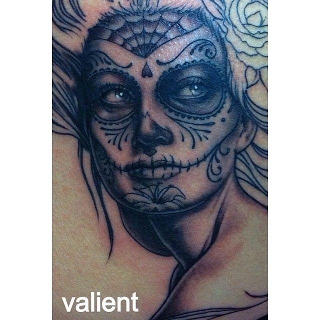 #DayOfTheDead #SugarSkull #Valient #GirlTattoo #Tattoo #Tattoos #Portrait #PortraitTattoo #DeadGirlTattoo #DiaDeLosMuertos #AreYouStillReadingThese #Hashtags ? #Gracias