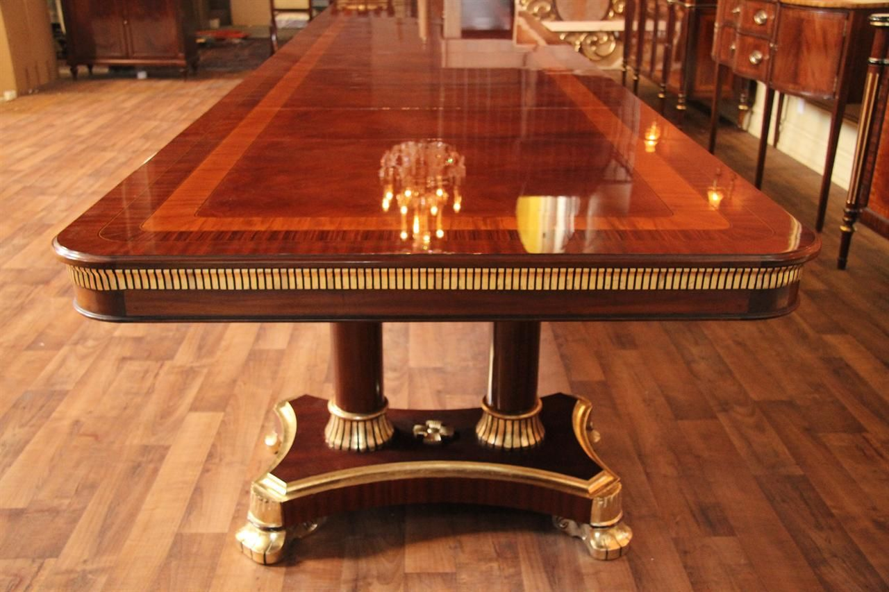 Wonderful Large High End Mahogany Dining Table, Antique Reproduction Dining Room, 13  Foot