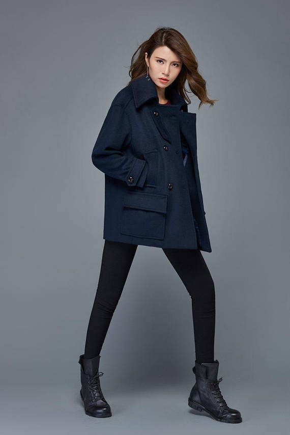 74ee97ce2 Blue coat, Short coat, wool coat, winter jacket women, short jackets, womens  coats, duffel coat, dou