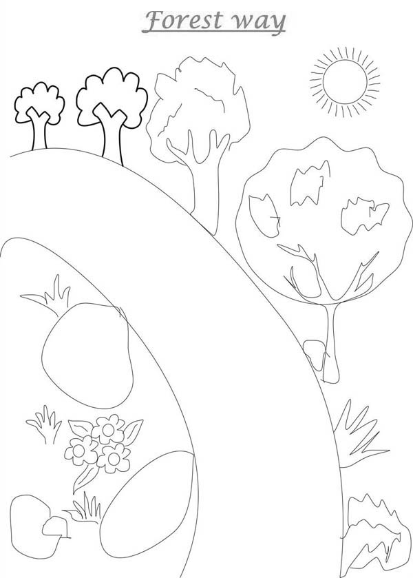 Road To Forest Coloring Page Coloring Sky Forest Coloring Pages Coloring Pages Coloring Pictures