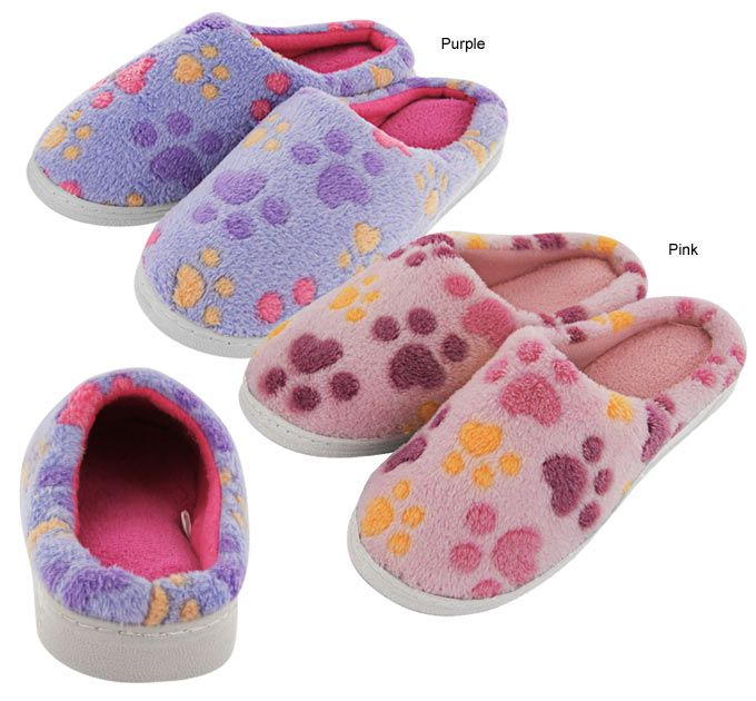 Purple Paw Love Microfiber Slippers