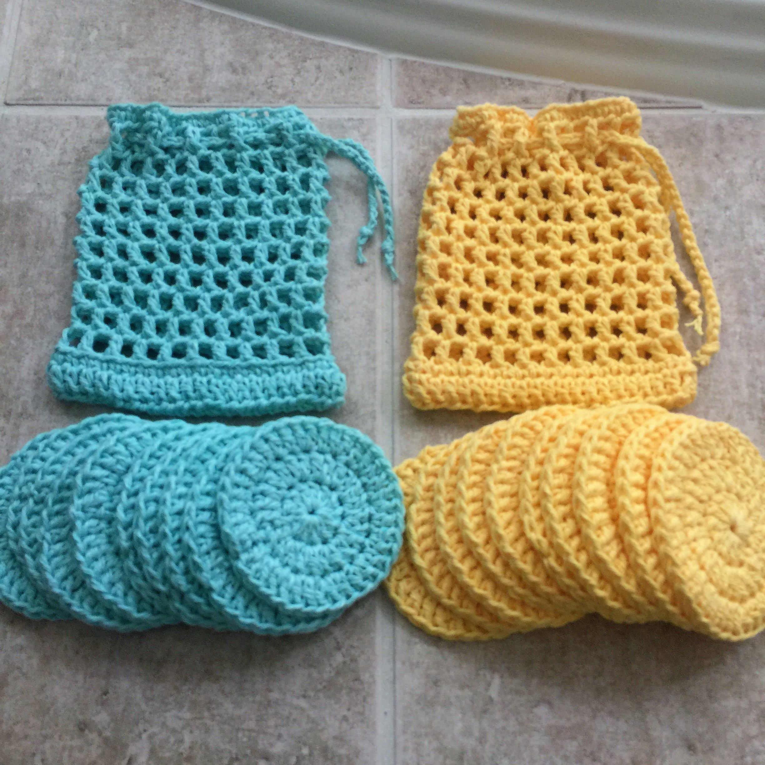 Cotton face pads, set of 10, face scrubbies, crocheted laundry bag ...