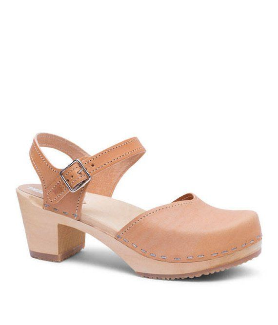 cb43d9335255 Swedish Clogs For Women   Strap Sandal   Closed Toe Shoe  mid heel clog  Leather  Shoes   Womens Clog
