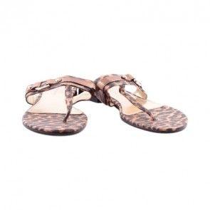 Charles And Keith Leopard Flat Sandals Aksesoris Sepatu Produk