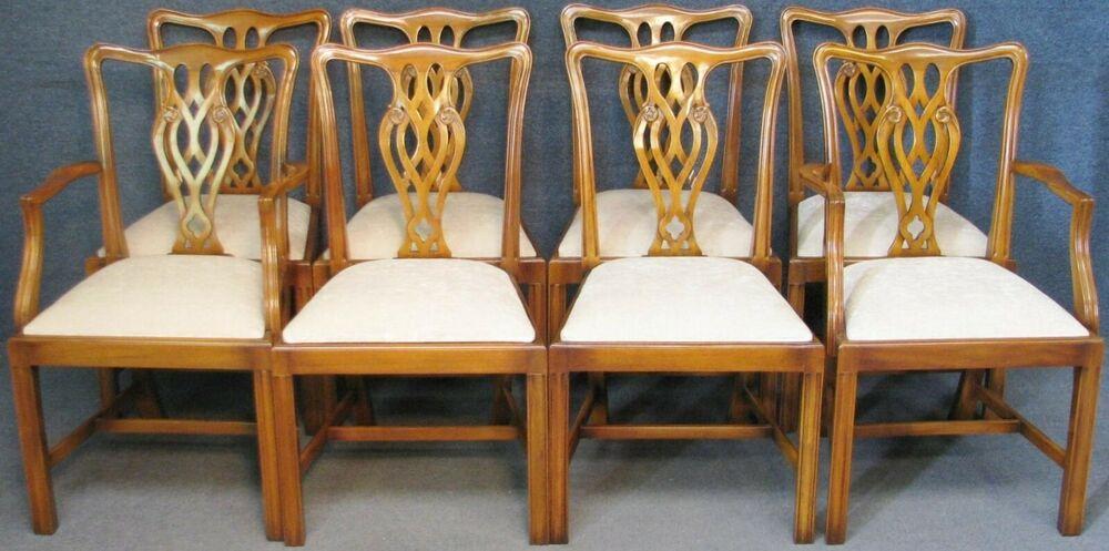 Set Of 8 G T Rackstraw Hepplewhite Style Dining Chairs