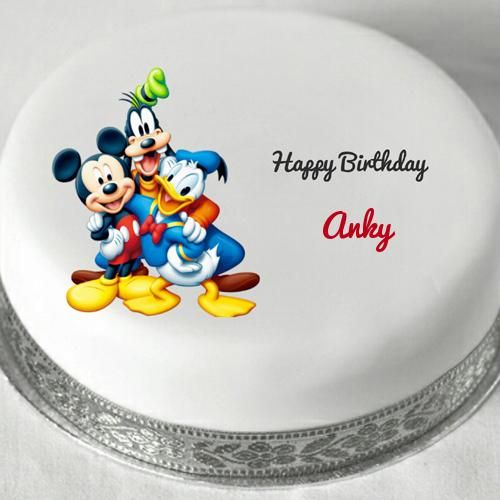 Disney Cartoon Characters Birthday Cake With Name