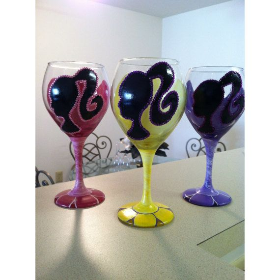 Barbie Silhouette Wine Glasses Set of 3 by MahoganyBoutique