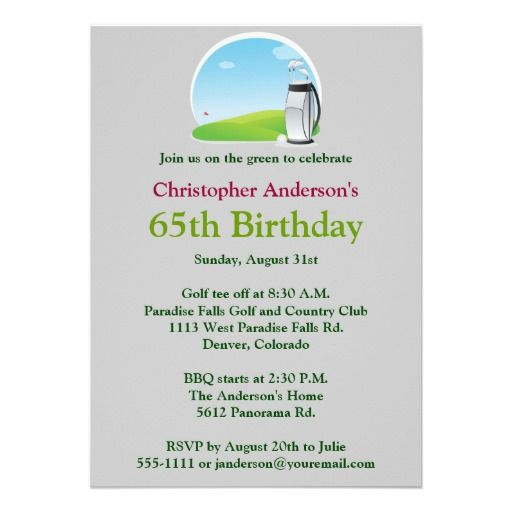 Golf Themed Tee Off Invitations MyExpression Steve – 65th Birthday Invitation Wording