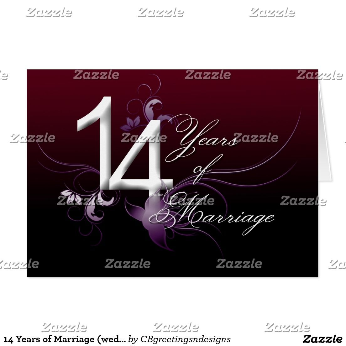 14 Years Of Marriage Wedding Anniversary Card